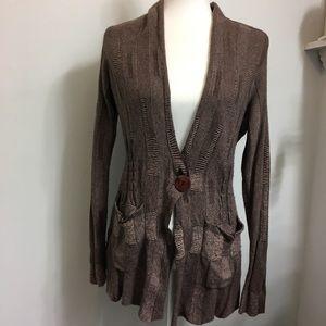Sparrow Brown Knit Blazer Button Sweater S
